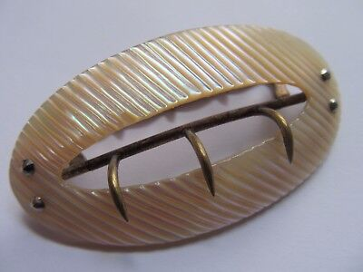 Antique Victorian C 1890 Belt Buckle ,perfect , Mother Of Pearl, Original Oval