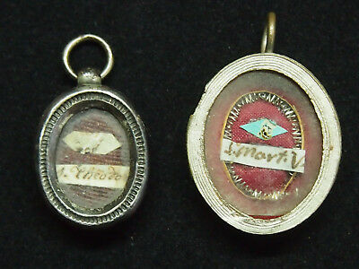 2 Christian Reliquary, Holy Relics Theodo - S.mart.v, With Wax Seal, 1 Silver