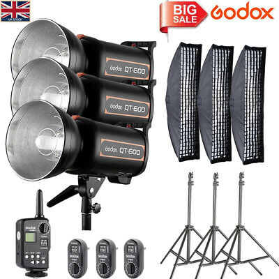 UK 3*Godox High Speed QT600 600W Studio Flash+FT-16 Trigger+35*160CM softbox Kit