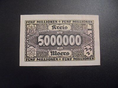 Rare 5 Million Mark Moers Germany Banknote 1923