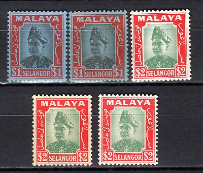 Malaya Straits Settlements 1941 Selangor Sultan Sellection Of Mnh Stamps Un/mm
