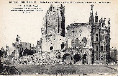 Old Le Deley Postcard Circa 1915 - Arras Belfry & Town Hall After Bombardment