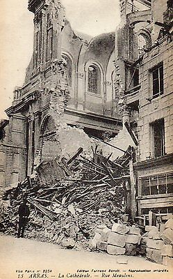Old Postcard Circa 1918 - Arras - The Cathedral - World War I