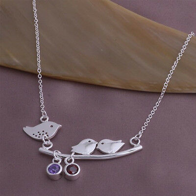 925 Silver Jewellery love Birds Necklaces Pendant For lovers  Friend Couples