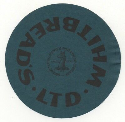OLD BEER LABEL   - UK -  WHITBREAD STOPPER (C) - 101mm TALL
