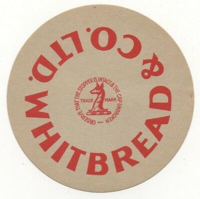 OLD BEER LABEL   - UK -  WHITBREAD STOPPER (D) - 101mm TALL