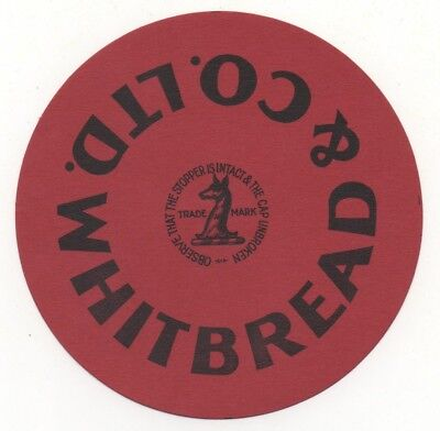 OLD BEER LABEL   - UK -  WHITBREAD STOPPER (E) - 101mm TALL