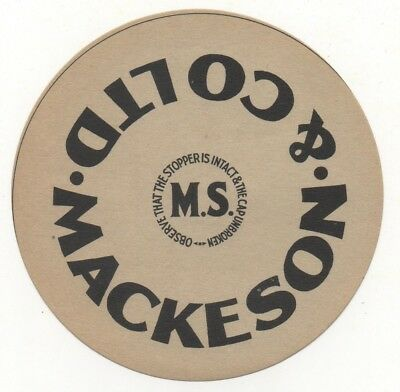 OLD BEER LABEL   - UK -  MACKESON STOPPER (E) - 101mm TALL