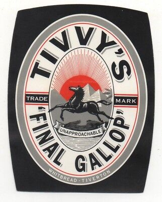 OLD BEER LABEL   - UK -  TIVVY FINAL GALLOP -  84mm TALL