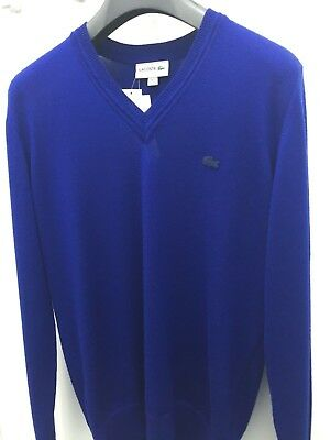 Lacoste men's v neck pure wool jersey sweater