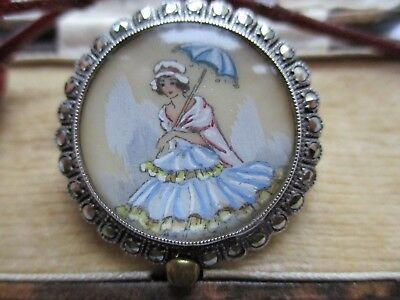 """VINTAGE SILVER TL MOTT BROOCH  """"CRINOLINE LADY """",HAND PAINTED and SIGNED , MARCA"""