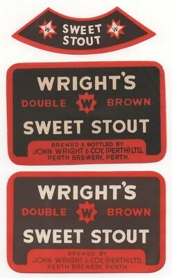 2 Different Old Beer Labels  - Uk -  Wright's  - Perth