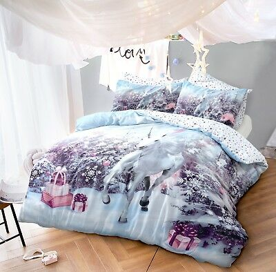 Christmas Unicorn Duvet Cover Set King Size Double Single Complete Bedding Xmas