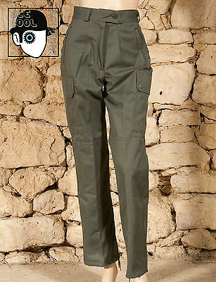 FRENCH ARMY SURPLUS LADIES FATIGUE TROUSERS - UK 8 petite 10 - NEW - (Z)