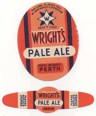 2 Different Old Beer Labels  - Uk -  Wright's  - Perth - Pale Ale
