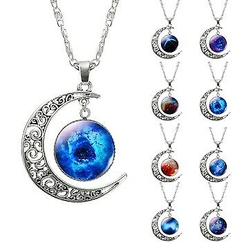 Hollow Moon & Glass Galaxy Statement Necklaces New Fashion