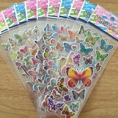 4 sheets no repeat children's cartoon butterfly Stereoscopic puffy Stickers C80