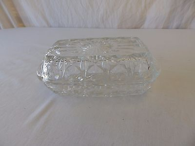 GORGEOUS VINTAGE PRESSED GLASS BUTTER DISH WITH LID / BUTTER KEEPER - France