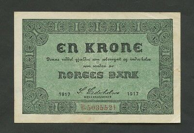 NORWAY - 1 krone  1917  P13  Very Fine+  ( World Paper Money )