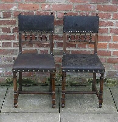 Antique Georgian Oak and Leather Dining Chairs