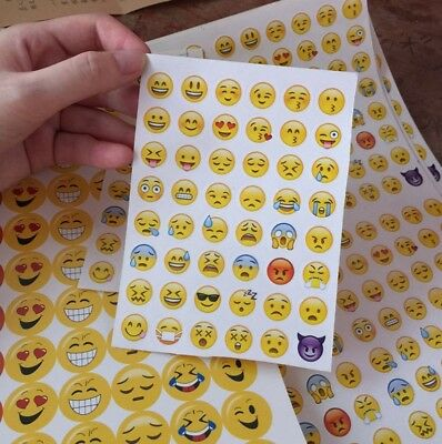 3x Stickerbögen mit 144 Emoji Aufkleber Sticker Smiley Whatsapp Kids XXL 93*