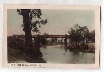 VINTAGE POSTCARD RPPC THE RAILWAY BRIDGE, DUBBO NSW hand coloured 1908