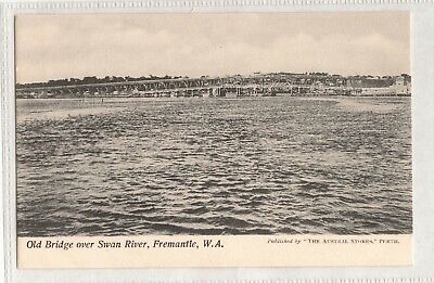 Vintage Postcard Old Bridge Over Swan River, Fremantle W.a