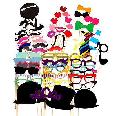 58pcs Photo Booth Props DIY Mustache Lips On A Stick Wedding Birthday Party Gift