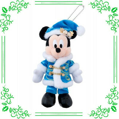 PST Mickey Mouse Plush Doll Badge Snow Christmas Wish 2017 Tokyo Disney Resort