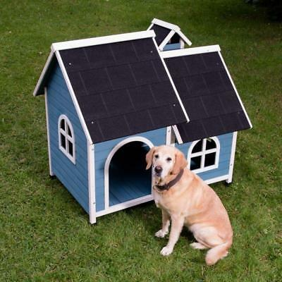 WOODEN Dog Kennel Waterproof PITCHED ROOF Chimney Pet House Hideaway Blue Medium