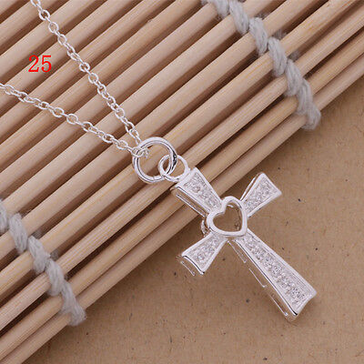 Hot   Gift Classical Women 925Solid Silver Necklace Heart Cross Pendant
