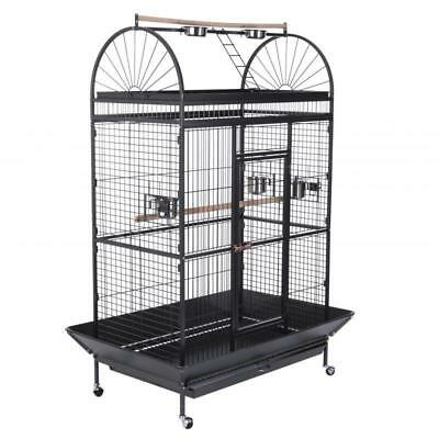 Mobile Pet Bird Parrot Cage Home With WASTE Catcher Accessories Aviary WHEELS