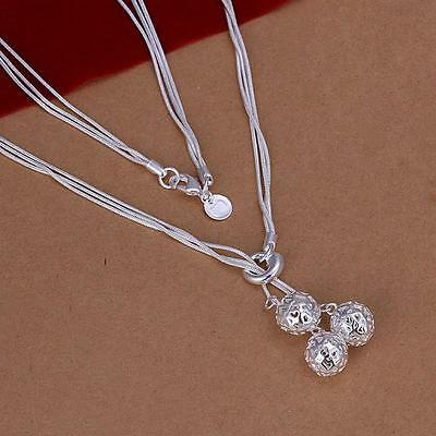 Womens Jewelry Solid Silver  Gift Fashion Necklace Ball Pendant C925