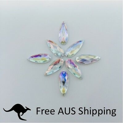 Clear AB Horse Eye Acrylic Crystal Flatback Rhinestones 9x20mm - 25pcs Sew On