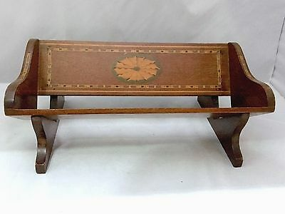 ANTIQUE Edwardian BOOK TROUGH RACK STAND in mahogany with inlay shell decoration