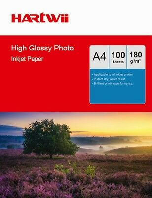 100 Sheets A4 180Gsm High Glossy Photo Paper For Inkjet Printing UK by Hartwii
