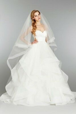 Ivory White 2T Bridal Veils Wedding Cathedral Length Satin Edge Veil With Comb