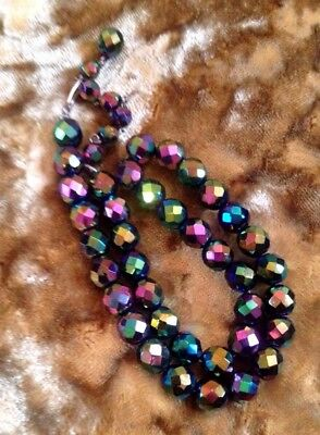 """VINTAGE carnival glass wedding NECKLACE 1950s CHOKER 15"""" one strand peacock xmas"""