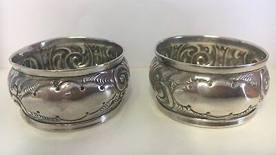 Antique Solid Silver Pair Of Napkin Rings, Art Nouveau
