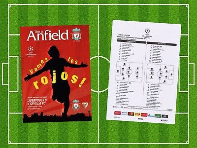 Liverpool V Sevilla Champions League . Programme And Team Sheet 2017/18