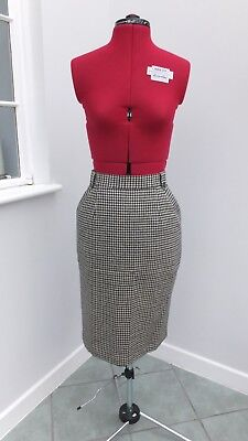 Vintage 1980s houndstooth/dogtooth St Michael wool pencil skirt size 10-12