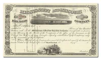 Mississippi and Missouri Rail Road Company Stock Certificate (1800's)