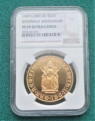 1989 Gold Proof Five Pounds 500th Anniversary Sovereign coin