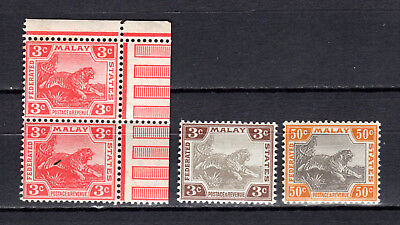 Malaya Straits Settlements 1904-1922 Fms Tigers Selection Of Mnh Stamps Un/mm