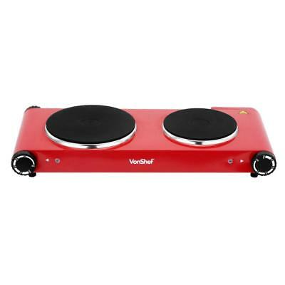 Red DOUBLE HOT PLATE Twin Hob Overheat Protection Automatic Non-Slip Stainless