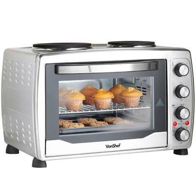 CONVECTION MINI OVEN Bake Timer Integrated Hot Plate Wire Grill Rack Baking Tray