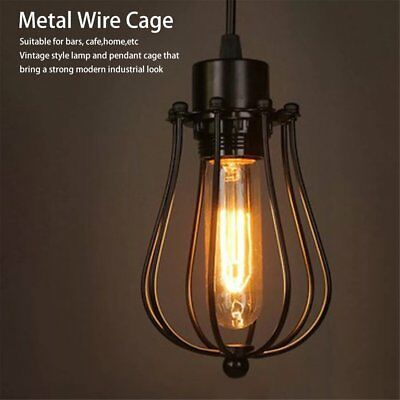 Vintage Industrial Style Metal Cage Frame Ceiling Pendant Light Lamp Shades SU