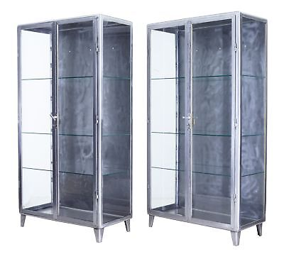 PAIR OF 1920's POLISHED STEEL MEDICAL DISPLAY CABINETS