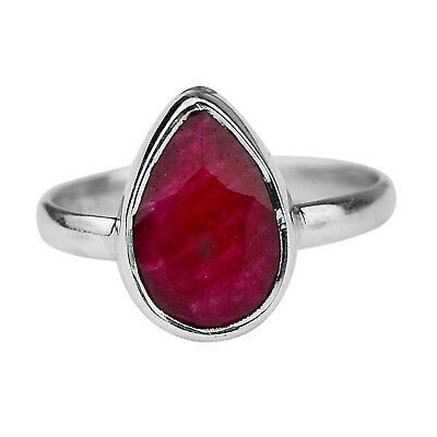 Natural Ruby Gemstone 925 Sterling Silver Jewelry Ring Size US 7 US 2.49 g