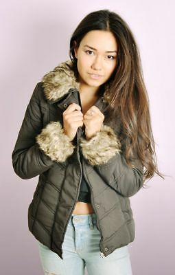 Ladies Padded Winter Jacket with Detachable Faux Fur Trims 10-16 - CLEARANCE